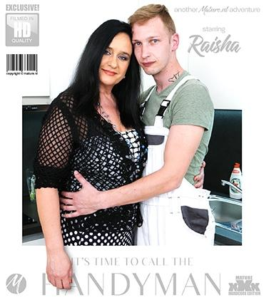 Mature - Raisha E. (52) - Curvy, big breasted mature Raisha needs work in the kitchen so she calls a handyman to fix it. When he takes out his tool, she gets all riled up and begging for more.
