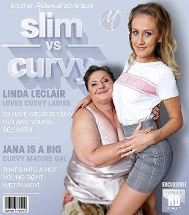 Mature - Jana (58), Linda Leclair (22) - Naughty babe Linda Leclair loves to eat pussy. Especially pussy from a mature BBW with big tits