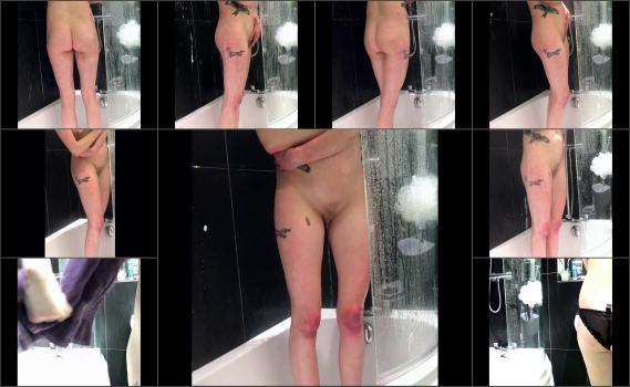 Tattooed Brunette Shower Hidden Spy Cam Changing